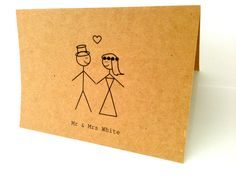 20 Customised Wedding/Engagement Thank-you cards/invitations. Love struck mr & mrs stick figures (Printed). Country chic.. $25.00, via Etsy.