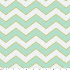Mint and Gold Chevron Fabric by the Yard | Carousel Designs