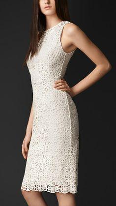 Macrame lace shift dress, Burberry