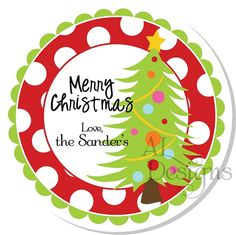 Personalized Christmas Stickers   Christmas Tree  by Autumnleah, $5.50