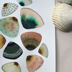 Seashells and patterns — another 2019 favorite! Abstract Watercolor Art, Watercolor And Ink, Watercolor Paintings, Watercolors, Watercolor Pattern, Abstract Oil, Abstract Paintings, Oil Paintings, Watercolor Flowers