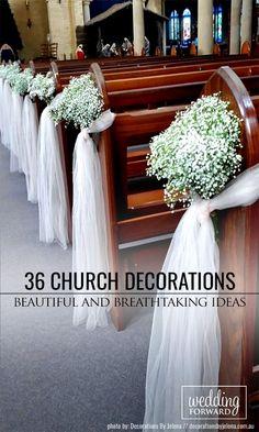 36 Beautiful And Breathtaking Church Wedding Decorations ❤ See more: http://www.weddingforward.com/church-wedding-decorations/ #weddings #decorations