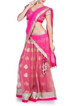 Beautiful pinkbanarasbrocade netlehenga with intricate hand and machine embroidery on a stunning pink brocadecholi$65,500.00