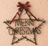 RUSTIC MERRY CHRISTMAS STAR FOR WALL OR DOOR DECOR