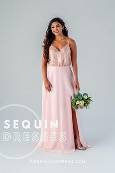 Sequins are making a serious comeback, with sophisticated designs where vintage meets modern glam! Sparkly Gown, Blush Pink Bridesmaid Dresses, Blush Pink Wedding Dress, Blush Pink Weddings, Wedding Bridesmaid Dresses, Dream Wedding Dresses, Mix Match Bridesmaids, Junior Bridesmaids, Lovely Dresses