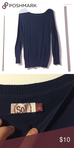 Basic Navy blue sweater. Navy Blue basic sweater. Not super thick sweater and scoop neck style. Sweaters Crew & Scoop Necks