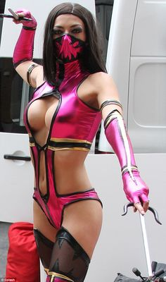 Dangerous curves: The 30-year-old stopped traffic in her version of evil character Mileena