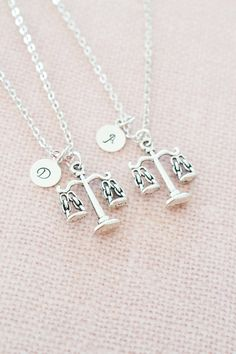 personalized best friend necklace,scales of justice charm necklace,law school graduation gift,paralegal,lawyer,bff necklace,friendship gift