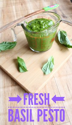 Fresh basil pesto is full of healthy ingredients, simple to make and works perfectly in pastas or pizzas!