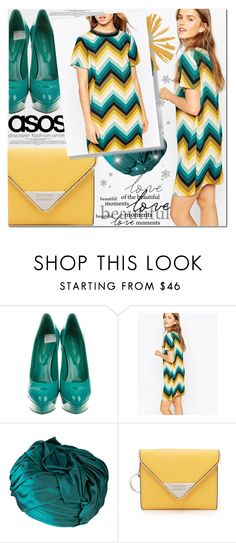 """#DAILYLOOK  Blue and yellow !"" by sweetnovember66 ❤ liked on Polyvore featuring Sergio Rossi, ASOS, Christian Dior and Rebecca Minkoff"