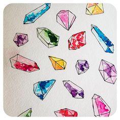 Lacee Swan @laceeswan - watercolor gem stones.Yooying