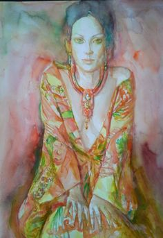 Watercolor on paper - gorgeous work by my favorite watercolor figural painter, Marianne van der Veer