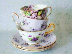 Vintage Tea Cups and Saucers Lot  3 Lavender by SwirlingOrange11