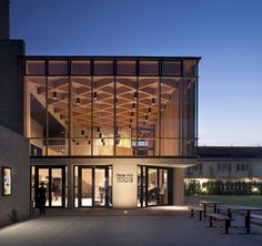 Peter Hall Performing Arts Centre has a triple height glazed foyer with a timber ceiling designed by Haworth Tompkins for a school in Cambridge. Exterior Tradicional, Timber Roof, Timber Structure, Precast Concrete, Exhibition Space, Facade Design, Paint Colors For Home, Facade Architecture, Home Design