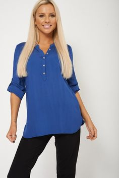 Textured Blue Blouse with Tabbed Sleeves