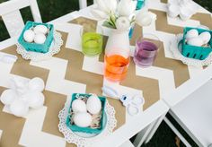 #Easter egg decorating table #birthdayexpress