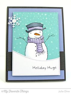 Holiday Hugs Snowman, Snowfall Background, Horizontal Stitched Strips Die-namics, Let It Snowflake Die-namics, Stitched Rectangle STAX Die-namics, Stitched Snow Drifts Die-namics - Julie Dinn #mftstamps