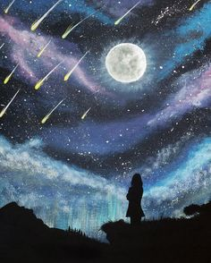 Meteor Shower Silhouette Painting, Original Acrylic Painting on Canvas, Original Artwork, Night Sky Meteor Shower, Stars on Canvas. I couldn't find the artist. Painting Inspiration, Art Inspo, Acrylic Painting Canvas, Canvas Art, Acrylic Artwork, Kunst Inspo, Silhouette Painting, Illustration, Wow Art