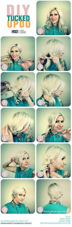 Beautiful and Easy DIY Tucked Updo if my hair ever gets long enough...