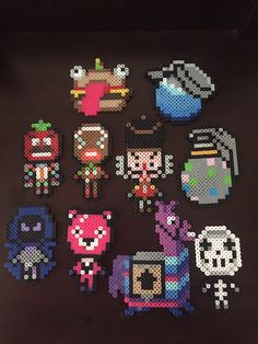 All handmade, set of 10 Perler bead Fortnite ornaments. Super cute, perfect for any Fortnite fan! Other Fortnite Ornaments listings: Pixel Beads, Fuse Beads, Pearler Beads, Hama Beads Patterns, Beading Patterns, Dots And Boxes, Pixel Art Templates, Pixel Pattern, Beaded Christmas Ornaments