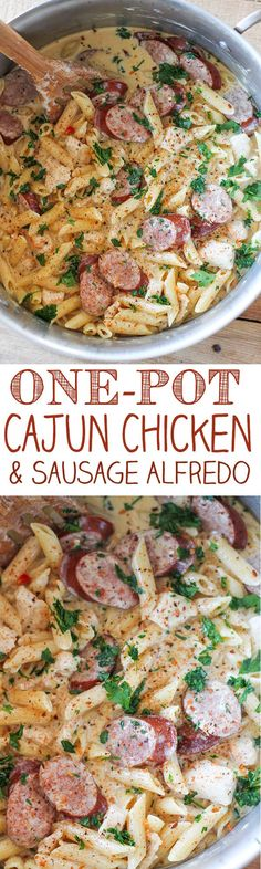 This One-Pot Cajun Chicken and Sausage Alfredo is one of our new favorite meals. It is so simple to make and absolutely packed with flavor. Tender chunks of chicken with smoky pieces of sausage in a rich and delicious homemade alfredo sauce. This meal serves a crowd but takes less than 30 minutes to make.
