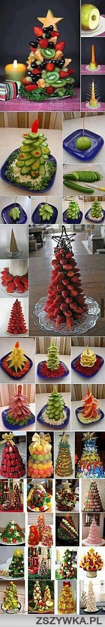 Christmas trees made of fruit and vegetables. Great idea for Christmas!