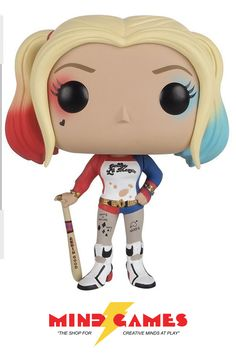 """Harley wears her blonde hair in two ponytails, one dyed partially pink and the other dyed partially blue. She has blue eyes and noticeably pale white skin, which is scatted with tattoos. Her main outfit consists of a baseball-style jersey shirt that says """"Daddy's Lil' Monster"""", fishnet leggings below red and blue sparkly shorts, black and white stiletto boots, and a glittery Letterman-esque jacket with the words Property of the Joker written across the back. With the emergence of Task Force…"""