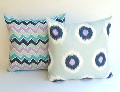 Pillow covers set of two 18 x 18 inches navy blue sky blue light blue lavender white blue pillows - colors!