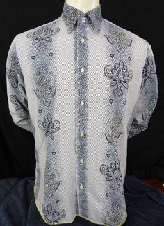 Brandolini Retro Rockabilly Shirt Mens Size XL Button Front Geometric Design #Brandolini #ButtonFront
