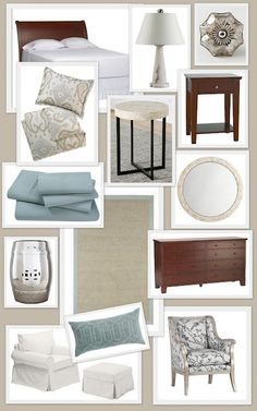 Great inspiration mood board for a coastal spa-like master bedroom retreat.