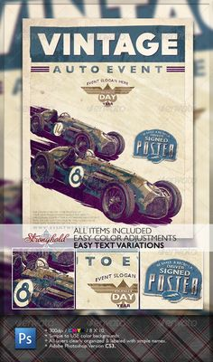 Buy Vintage Race Flyer by getstronghold on GraphicRiver. Stronghold Branding: ABOUT: Vintage Race inspired design that could be used in a number of ways from race promotion t. Design Lab, Flyer Design, Vintage Racing, Retro Vintage, Nascar, Gill Sans, Presentation Design Template, Ecommerce Logo, Print Templates