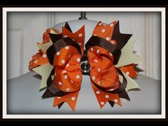 How to make an Easy Fall Thanksgiving boutique style hair bow tutorial - YouTube