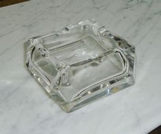 Vintage Cigar Ashtray ~ Heavy Clear Glass ~ Mid Century Retro  | eBay