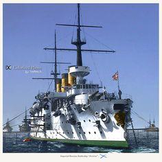 "Imperial Russian battleship ""Pobieda"" ВМФ броненосец ""Победа""."