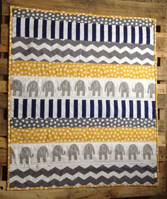Grey Elephant Quilt Navy Yellow Grey by Nooches on Etsy ... I'm ... : must have quilting supplies - Adamdwight.com