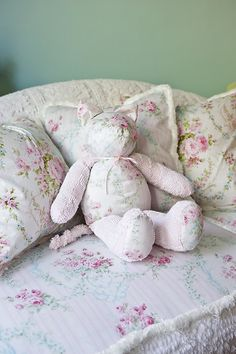 kitty cat shabby chic vintage chenille bedspread roses pink white baby girl cottage toy stuffed animal