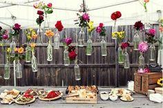 rainbow wedding. bohemian wedding. wine bottles diy crafts