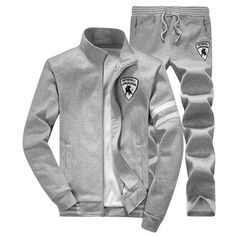 Men Casual Sports Clothing Set, Warm Sports Suit, Jacket & Pants-Men Tracksuit-LeStyleParfait.Com