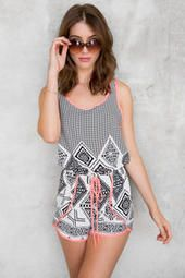 Corazon Printed Romper- A black & white tribal print decorates this playful romper trimmed with neon piping. Boho Hat, Casual Outfits, Fashion Outfits, Tribal Prints, Summer Wardrobe, Jumpsuit, Rompers, My Style, How To Wear