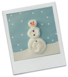Kids Winter Crafts - Cotton balls turned into fun snowman!
