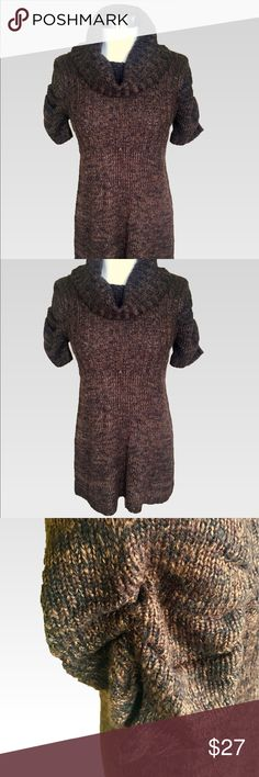 """The Sweater Project - Brown Cowl Sweater Dress L The Sweater Project - Brown Cowl Sweater Dress. This dress is stylish and keeps you warm. Can be worn as a dress or with jeans or leggings and boots. Lovely ruching detail at the sleeves. In excellent, like new condition. Size L. Measurements: Pit to pit 16"""", Hips 19"""", Length 33"""". Sweater material so lots of stretch. Sweater Project Dresses"""