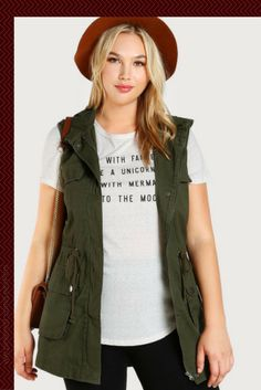 Sleeveless Hooded Military Jacket OLIVE -Plus Sizes Fall/Winter 2017 from Shein.com -affiliate. ~Love this casual Plus Size outfit look.