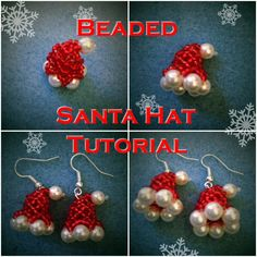 OLD VERSION - SEE DESCRIPTION: Beaded Santa Hat Tutorial This tutorial will show you how to make a little beaded Santa Claus hat that can be used as an earring or for other decoration like on the tree, on a charm b. Beading Projects, Beading Tutorials, Beading Patterns, Christmas Tree Earrings, Beaded Christmas Ornaments, Christmas Bells, Hat Tutorial, Earring Tutorial, Christmas Jewelry
