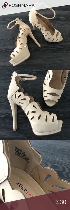 Just Fab Scalloped Heels Item: Just Fab Scalloped Heels Color: Tan (small mark on inside of shoe - shown in picture)   ❤️ Reasonable offers will be considered (please use the offer button to negotiate).  ✅ Bundle to save on shipping costs! ♏️ Lower prices on Merc! Find my page by searching for @heather_lynn.  ❌ NO TRADES! ❌ Lowball offers will be ignored and deleted.  Closet Tags: VS, Victoria's Secret, Sport, PINK, Nike, Follow Me, Follow Game JustFab Shoes Heels