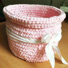 Pink crochet basket...