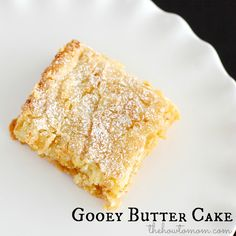 Mmmm Gooey Butter Cake! The crinkley sugar crust on top is to die for! A classic St Louis dessert via The How To Mom