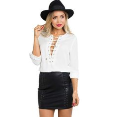 Women OL White Chiffon Casual Shirt Tops Long Sleeve Blouse