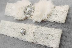 Wedding Garter Set HUGE SALE Many Colors Ivory by BrilliantBride