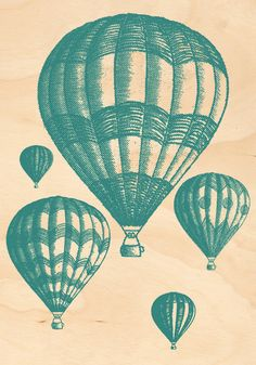 Timber Postcard  Hot Air Balloons bluegreen par LibertyBelleLondon