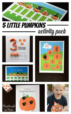Super fun 5 Little Pumpkins Activity Pack. Perfect fall activities for preschool or kindergarten! Practice counting, number recognition, reading, ABCs and more. LOVE this!